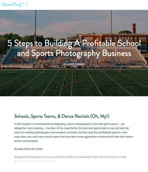 5 Steps to Building A Profitable School and Sports Photography Business
